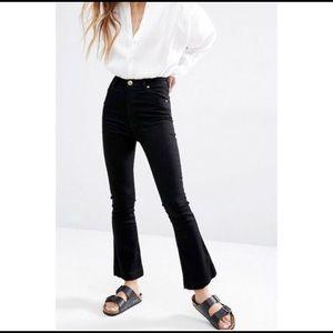 Rag & Bone Black Crop Flare Jeans 10 inch